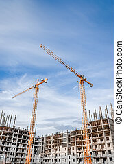 el, grúa construcción, y, el, edificio