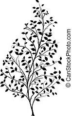 el, graficzny, sylwetka, drzewo, -, wektor