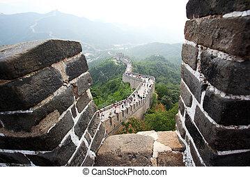 el, gran pared, en, badaling, cerca, beijing
