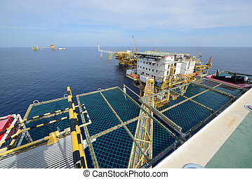 el, grande, plataforma petrolífera cercana costa