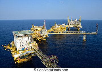el, grande, plataforma petrolífera cercana costa, plataforma