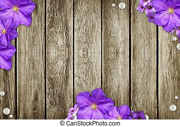 el, grunge, madera, plano de fondo, con, flores
