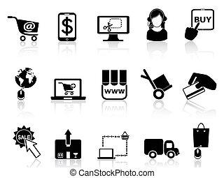 el hacer compras en línea, iconos