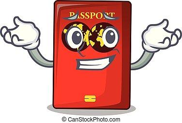 el hacer muecas, bolsa, caricatura, pasaporte, rojo