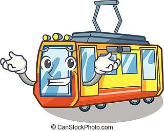 el hacer muecas, caricatura, tren, eléctrico, aislado