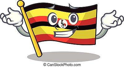 el hacer muecas, forma, bandera, uganda, mascota