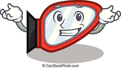 el hacer muecas, forma, lado, caricatura, espejo