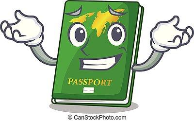 el hacer muecas, forma, verde, caricatura, pasaporte