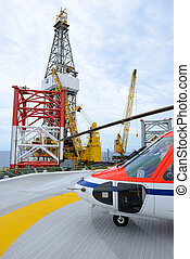 el, helicóptero, parque, en, plataforma petrolera