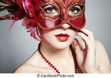 el, hermoso, mujer joven, en, un, rojo, misterioso, máscara...
