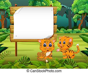 el, hermoso, naturaleza, vista, con, el, tablero de madera, espacio sin expresión, y, dos, lindo, tigre
