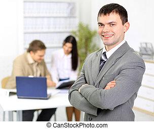 el, hombre de negocios, en, oficina