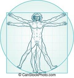 el, hombre de vitruvian, (aqua-air, version)