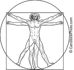 el, hombre de vitruvian, (outline, version)