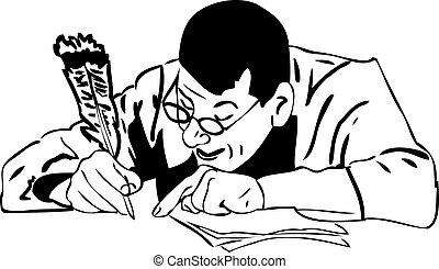 el, hombre, en, anteojos, escribe, un, pluma de remera