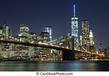 el, horizonte de new york city, w, puente de brooklyn