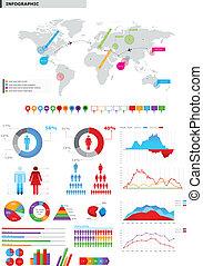 el, infographic, collezione, vettore