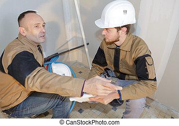 el, interior, construcción, equipo