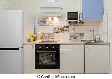 el, interior, de, un, compacto, cocina, en, el, casa de apartamento