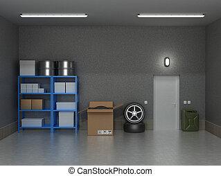 el, interior, suburbano, garaje, con, ruedas, y, boxes.