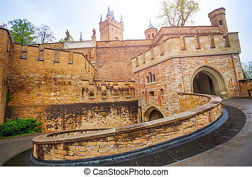 el, interior, yarda, de, hermoso, hohenzollern, castillo