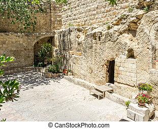el, jardín, tumba, en, jerusalén, israel
