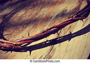 el, jesucristo, corona de espinas, con, un, retro, filtro,...