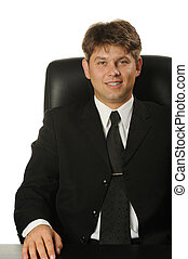 el, joven, hombre de negocios, aislado, en, un, fondo blanco