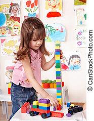 el jugar del niño, conjunto construcción, en, juego, room.