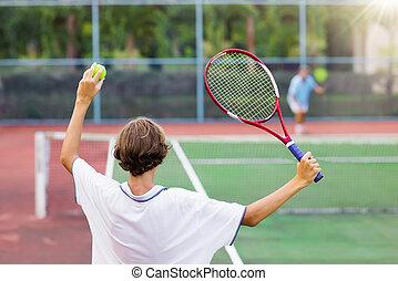 el jugar del niño, tenis, en, al aire libre, tribunal