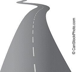 el, largo, y, camino tortuoso