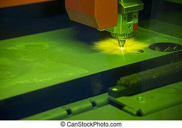 el, laser, cortador, máquina