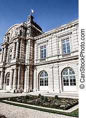 el, luxemburgo, palacio, en, hermoso, jardín, parís, francia