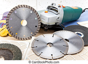 el, máquina cortante, y, vario, desmontable, discos