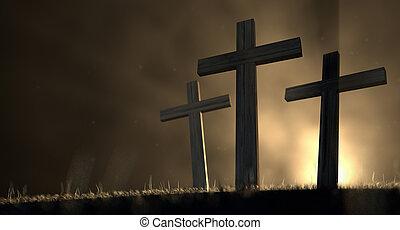 el, mañana temprana, crucifixión