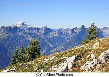 el, magnífico, alpes suizos, en, un, temprano, otoño