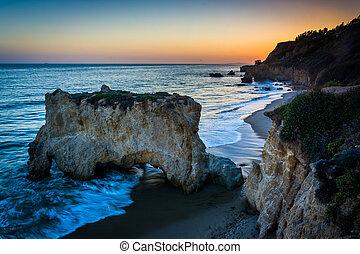 el, malibu, playa, vista, océano pacífico, estado, matador, ...
