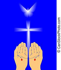 el, manos, de, jesús