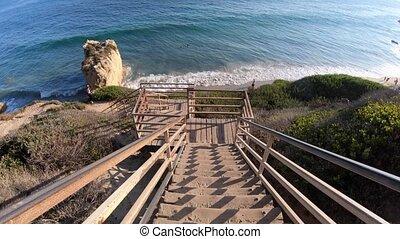 El Matador Beach stairway - Scenic wooden stairway leading...