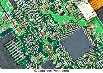 el, moderno, printed-circuit, tabla, con, electrónico,...