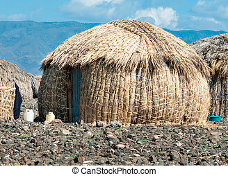 EL Molo huts, Lake Turkana, Kenya - Traditional EL Molo...