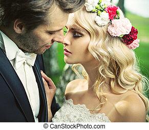 el, momento, después, romántico, beso