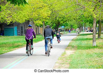 el montar en bicicleta, en, un, parque