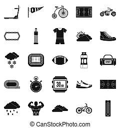 el montar en bicicleta, iconos, conjunto, simple, estilo