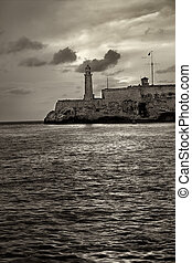 El morro lighthouse in havana - Sepia toned image of el...