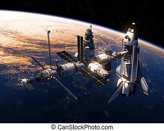 el moverse en órbita alrededor, lanzadera, estación, tierra, espacio