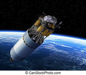 el moverse en órbita alrededor, tierra, tripulación,...