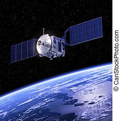 el moverse en órbita alrededor, tierra, satélite