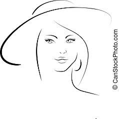 el, mujer, en, un, sombrero