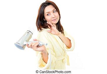 el, mujer, quién, usos, el, secador de pelo
